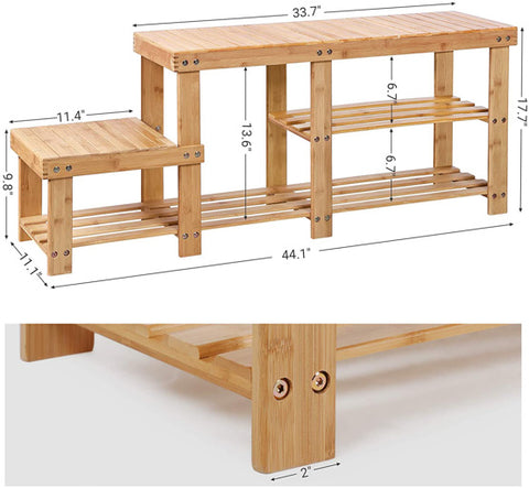 SPACE-SAVING STORAGE bamboo SHOE BENCH rack: put in your cubby closet, wardrobe, cabinet, garage, entrance, foyer and other storage area