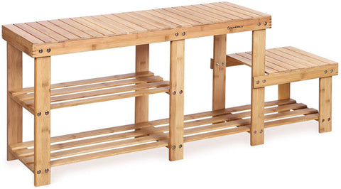 STABLE & ROBUST: Heavy-duty bench top made of 100% natural bamboo plank RENEWABLE & NATURAL Bamboo wood is as durable as solid beech or maple wood; damp-proof coating makes it easy to clean; smooth edges and sunken screws prevent snagging shoe bench and storage: fits your hallway, closet, living room, Bedroom, bathroom, patio or kitchen High quality bamboo shoe bench with a great value storage entryway shelf