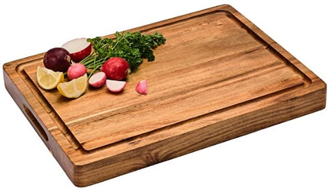 """Large Thick Acacia Wood Cutting Board Reversible Multipurpose Wood Cutting Board: Juice Groove & Cracker/Bread Holder  THICK, DURABLE, CONVENIENT - Our 1.5"""" thick butcher block style board allows for stability while cutting and the inner handles provide grip for easy carrying and serving.  DEEP JUICE GROOVES - For catching excess liquid during food prep  SUSTAINABLE ACACIA WOOD - Our acacia wood is Eco Friendly and certified by the Forest Stewardship Council from 100% sustainable plantations"""