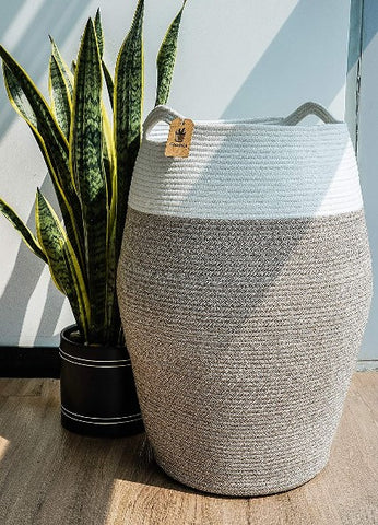 Brown Mix Grey Woven Cotton Rope Laundry Hamper
