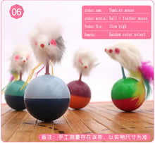 Load image into Gallery viewer, Cat Toys Rolling Ball Cat Mouse Kitten Interactive Stick Funny Fishing Rod Game Wand Feather Stick Toy Pet Supplies Accessory