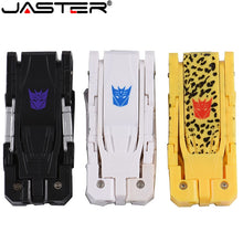 Load image into Gallery viewer, JASTER Plastic toy style U disk cartoon character usb flash drive transfomer pendrive 4GB 8G 16GB 32GB 64GB transformation robot