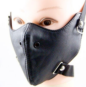 Punk Black PU Leather Masks 2020 New Party Cool Men Fashion Motorcycle Punk Rock Face Mask Hip-hop Halloween Party Masks