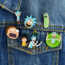 Load image into Gallery viewer, Rick and Morty Brooch Cosplay Costume Accessory Prop Accessories Metal Enamel Pin Badge