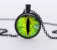 Load image into Gallery viewer, SUTEYI Red Cat Eye Necklace Charms Dragon Eyes Photo Glass Cabochon Pendnat Handmade Black Chain Necklaces Women Men Jewelry