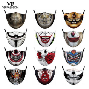 VIP FASHION Funny Pattem Print Grimace Ghost Skeleton Half Face Mask Reusable Protective Dustproof bacteria proof Flu Mouth Mask