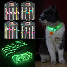 Load image into Gallery viewer, Dogs & Cats Collar with Glowing Bells Glow at Night Cat Collar Necklace Pet Chain Light Luminous Dog Neck Ring Pet Accessories