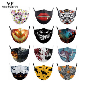 VIP FASHION Children's Mouth Mask Halloween Horror Skull Printed Anti Dust PM2.5 Double Layer Mouth-muffle Reusable Washable