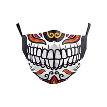 Load image into Gallery viewer, VIP FASHION Children's Mouth Mask Halloween Horror Skull Printed Anti Dust PM2.5 Double Layer Mouth-muffle Reusable Washable