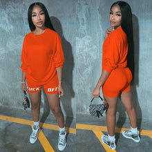 Load image into Gallery viewer, 2020 New Summer Letter Print Casual Women's Two Piece Outfits Set  Tracksuit  Shirt Sexy Top +Biker Shorts Jogger 2 piece Active