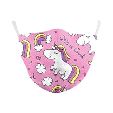 Load image into Gallery viewer, VIP FASHION Adult Cute Unicorn Printed Face Mask 2-layer Protective Dust-Proof Anti-Fog Haze Reusable Mouth Cover Can Put Filter