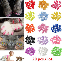 Load image into Gallery viewer, Nicrew 20 pcs Soft Silicone Soft Cat Nail Caps Colorful Cat Paw Claw Pet Nail Protector Cat Nail Cover Cat Grooming Supplies