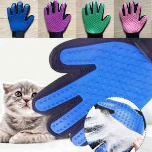 Blue Brush Glove For Animal Cat Cleaning Brush Finger Silicone Gloves For Cats Dogs Pet Hair Remover Glove Cat Grooming
