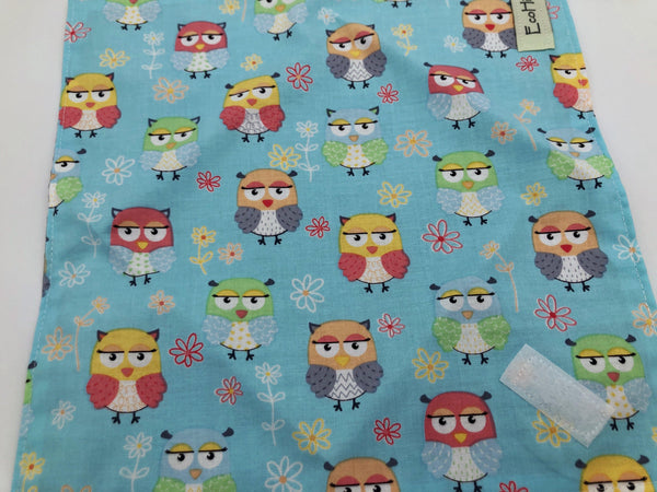 Owls Sandwich Bag, Blue Reusable Sandwich Wrap, Owl School Lunch, Eco-Friendly Napkin - EcoHip Custom Designs