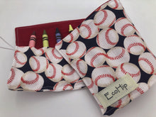 Load image into Gallery viewer, Baseball Crayon Roll, Sports Fan Crayon Caddy, Travel Toy, Baseball Fan - EcoHip Custom Designs