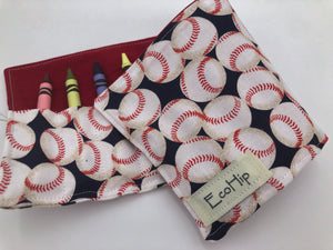 Baseball Crayon Roll, Sports Fan Crayon Caddy, Travel Toy, Baseball Fan - EcoHip Custom Designs