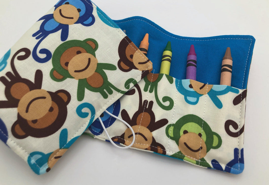Blue Monkeys Crayon Roll, Preschooler Travel Toy, Animal Crayon Case - EcoHip Custom Designs