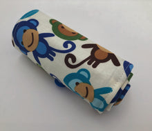 Load image into Gallery viewer, Blue Monkeys Crayon Roll, Preschooler Travel Toy, Animal Crayon Case - EcoHip Custom Designs
