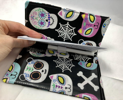 Day of the Dead Checkbook Cover, Women's Duplicate Check Book, Black Animals - EcoHip Custom Designs