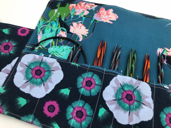 Teal Green Interchangeable Knitting Needle Case, Crochet Hook Roll, Notions Storage - EcoHip Custom Designs