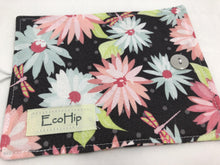 Load image into Gallery viewer, Gray Floral Tea Caddy, Purse Organizer, Small Wallet, Teabag Case, Pink Daisies - EcoHip Custom Designs