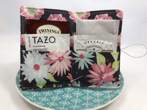 Gray Floral Tea Caddy, Purse Organizer, Small Wallet, Teabag Case, Pink Daisies - EcoHip Custom Designs