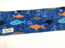 Load image into Gallery viewer, Sharks Crayon Roll, Toddler Travel Toy, Boy's Crayon Case, Crayon Wallet, Blue - EcoHip Custom Designs
