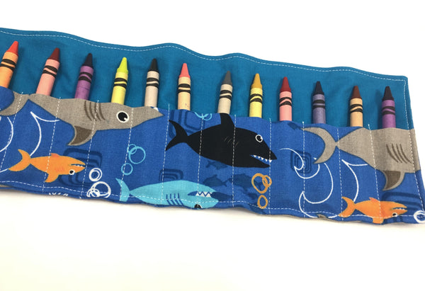 Sharks Crayon Roll, Toddler Travel Toy, Boy's Crayon Case, Crayon Wallet, Blue - EcoHip Custom Designs