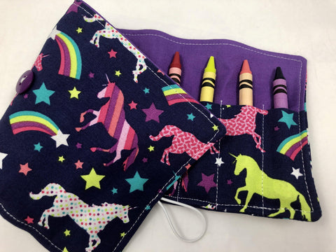 Unicorn Crayon Roll, Girl's Stocking Stuffer, Rainbow Crayon Case, Purple - EcoHip Custom Designs