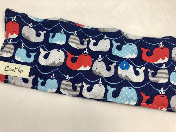Whales Crayon Roll, Kid's Crayon Case, Diaper Bag Travel Toy, Ocean, Fish, Blue - EcoHip Custom Designs
