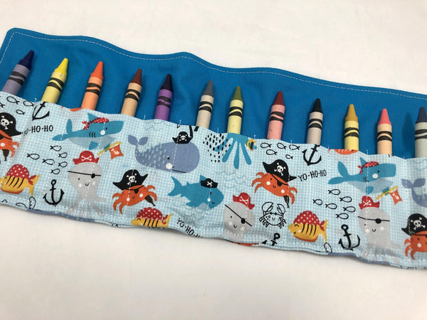 Pirate Crayon Roll, Boy's Crayon Case, Pirate Birthday, Ocean Animals, Blue - EcoHip Custom Designs