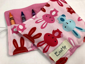 Bunny Rabbit Crayon Roll, Girl's Stocking Stuffer, Pink Crayon Wallet, Animal Crayon Case - EcoHip Custom Designs
