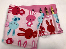 Load image into Gallery viewer, Bunny Rabbit Crayon Roll, Girl's Stocking Stuffer, Pink Crayon Wallet, Animal Crayon Case - EcoHip Custom Designs