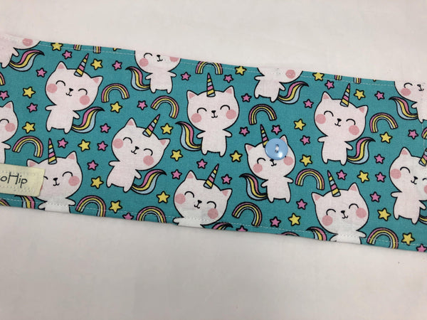 Unicorn Crayon Roll, Girl's Stocking Stuffer, Kitty Cat Crayon Wallet, Blue - EcoHip Custom Designs