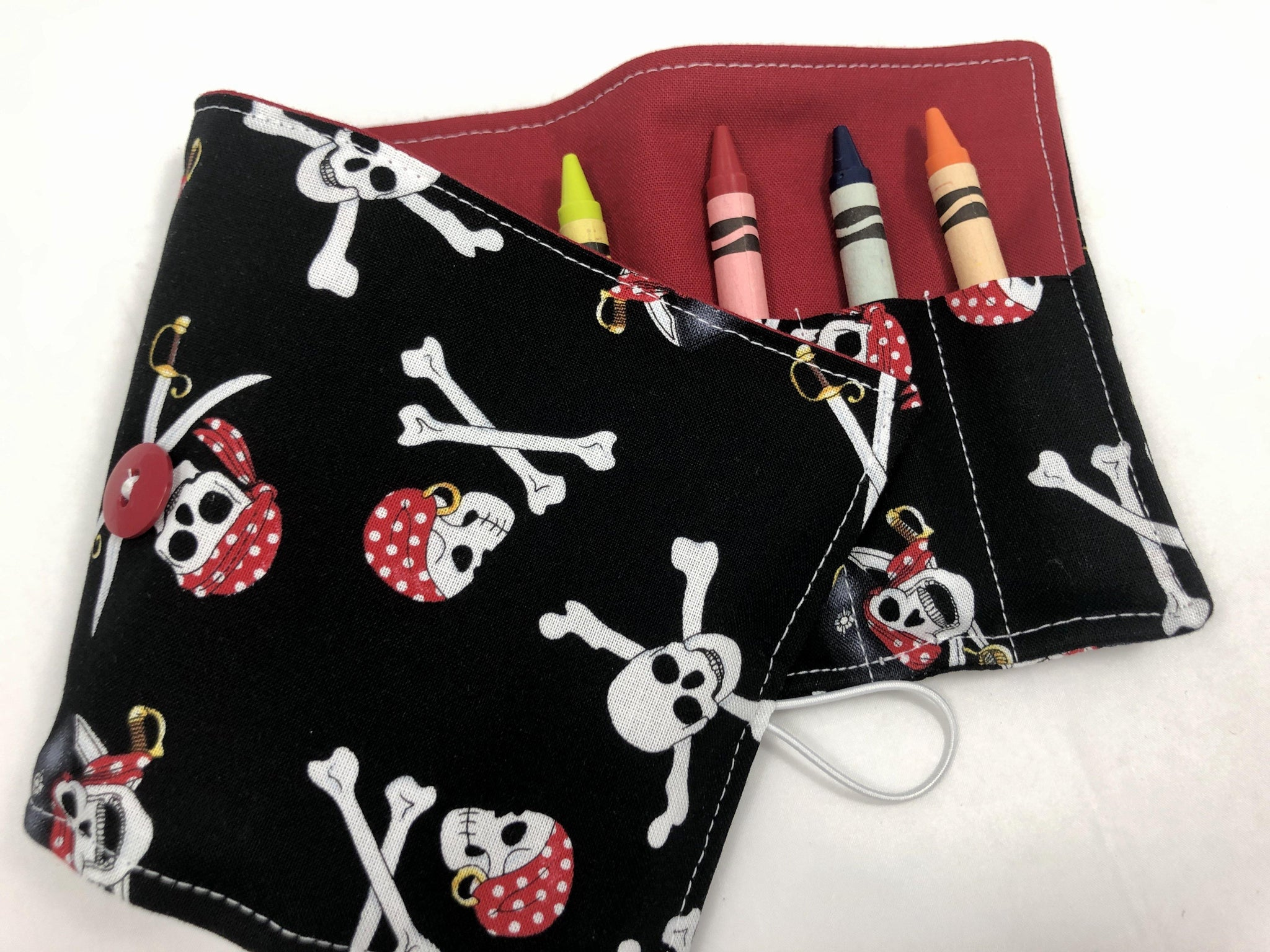 Pirate Crayon Roll, Boy's Travel Toy,  Black Crayon Case, Skull and Crossbones - EcoHip Custom Designs