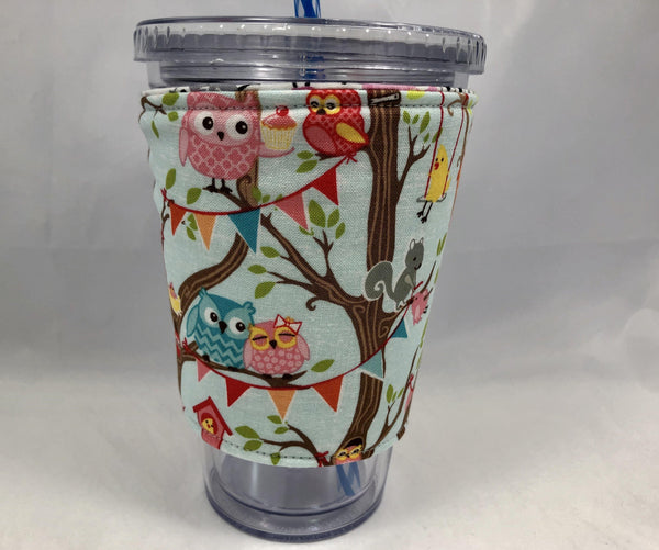 Owl Reversible Coffee Cozy, Bird Insulated Hot Drink Sleeve, Iced Coffee Cuff - EcoHip Custom Designs