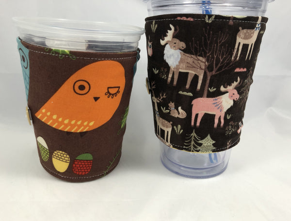 Animal Reversible Coffee Cozy, Insulated Drink Sleeve, Owl Coffee Cup Cuff - EcoHip Custom Designs