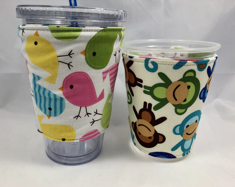 Birds Reversible Coffee Cozy, Insulated Coffee Cup Sleeve, Iced Coffee Cozy, Monkey - EcoHip Custom Designs