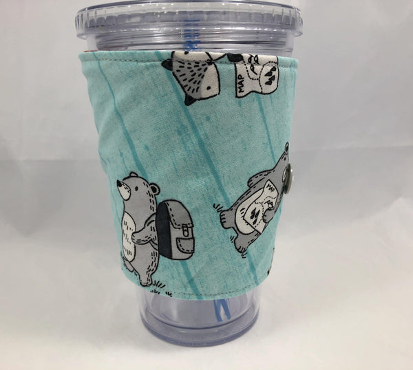 Dogs Reversible Coffee Cozy, Insulated Coffee Cup Sleeve,  Hot Drink Cozy, Animals - EcoHip Custom Designs