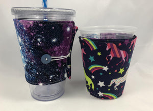 Galaxy Reversible Coffee Cozy, Unicorn Coffee Sleeve, Insulated Cozy - EcoHip Custom Designs