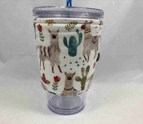Llama Reversible Coffee Cozy, Hedgehog Iced Coffee Sleeve, Insulated Drink Cozy - EcoHip Custom Designs
