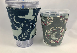 Animal Reversible Coffee Cozy, Iced Coffee Cup Sleeve, Hot Drink Cuff, Moon Glow - EcoHip Custom Designs