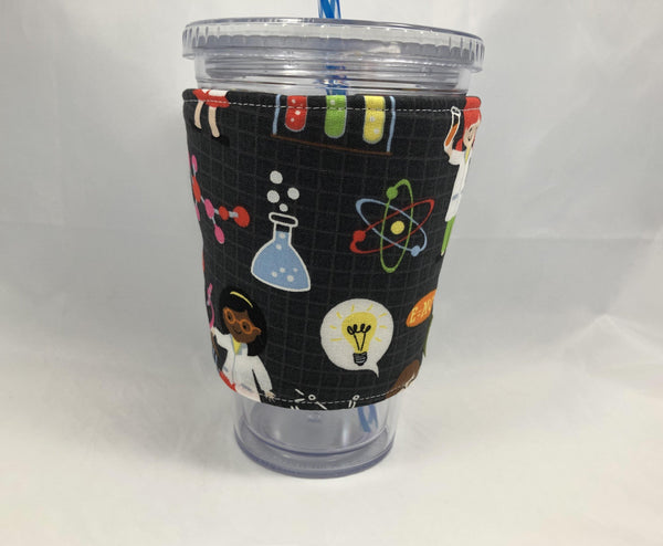 Book Worm Reversible Coffee Cozy, Science Iced Coffee Sleeve, Girl Geek Coffee Lover - EcoHip Custom Designs