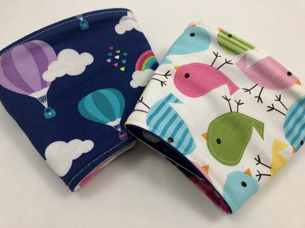 Birds Reversible Coffee Cozy, Insulated Coffee Cup Sleeve, Iced Coffee Cozy, Air Balloon - EcoHip Custom Designs