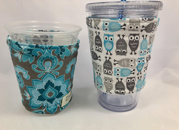 Blue Owls Reversible Coffee Cozy, Gray Coffee Sleeve, Iced Drink Cup Cozy - EcoHip Custom Designs