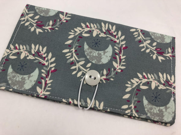 Moon Duplicate Checkbook, Gray Fabric Duplicate Check Book, Checkbook Wallet - EcoHip Custom Designs