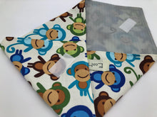 Load image into Gallery viewer, Monkey Sandwich Bag, Reusable Sandwich Wrap, EcoFriendly School Lunch Napkin, Blue - EcoHip Custom Designs
