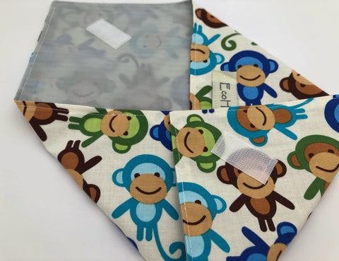 Monkey Sandwich Bag, Reusable Sandwich Wrap, EcoFriendly School Lunch Napkin, Blue - EcoHip Custom Designs