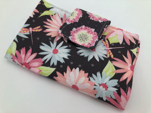 Daisy Tampon Case, Shark Week Bag, Sanitary Pad Privacy Pouch, Gray Floral - EcoHip Custom Designs