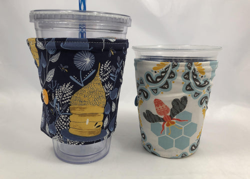 Honey Bee Reversible Coffee Cozy, Blue Iced Coffee Sleeve, Insulated Drink Cozy - EcoHip Custom Designs